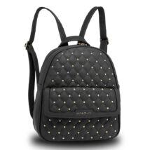 Szegecselt külsejű hátizsák - fekete