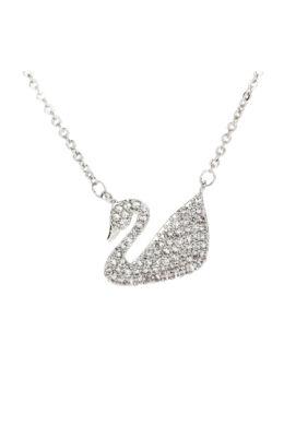 Anna Grace ezüstözött nyaklánc hattyús medállal