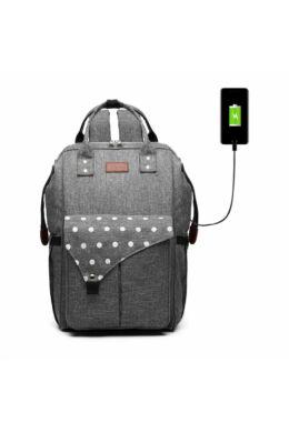 KONO Polka Pelenkázó táska USB- pöttyös szürke