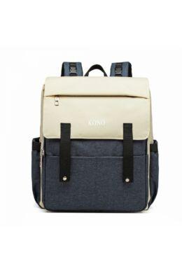 KONO merevített pelenkázó hátizsák USB- sötétkék