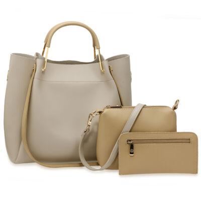 Nina 3 részes táskaszett - szürke nude - Nagy méretű táskák 78541d456d
