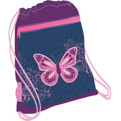 Belmil hálós és zsebes tornazsák Purple Flying Butterfly