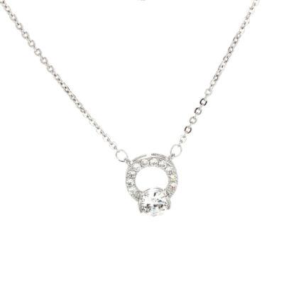 Anna Grace ezüstözött nyaklánc köves medállal