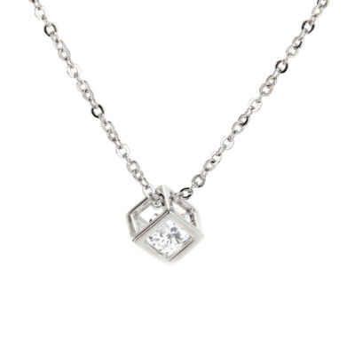 Anna Grace ezüstözött nyaklánc kocka medállal