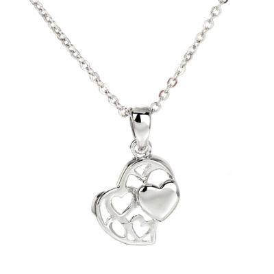 Anna Grace ezüstözött nyaklánc dupla szíves medállal
