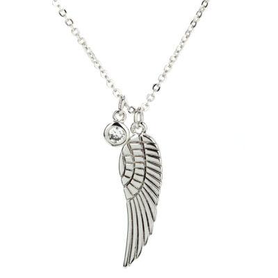 Anna Grace ezüstözött nyaklánc szárny alakú medállal