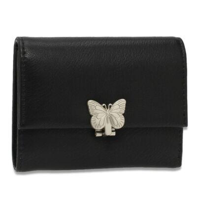 AG női pénztárca pillangós csattal - fekete