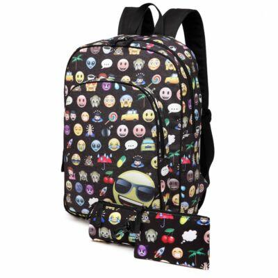 Emoji E6629 hátizsák tolltartóval és pénztárcával - fekete