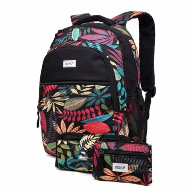 KONO Matte Tropical E1742 hátizsák, tolltartó és pénztárca - fekete