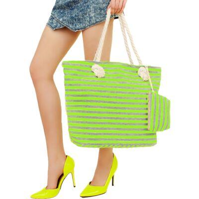 Neon bevásárlótáska+pénztárca Zöld