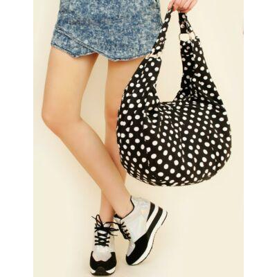 Pöttyös bevásárló táska - Fekete
