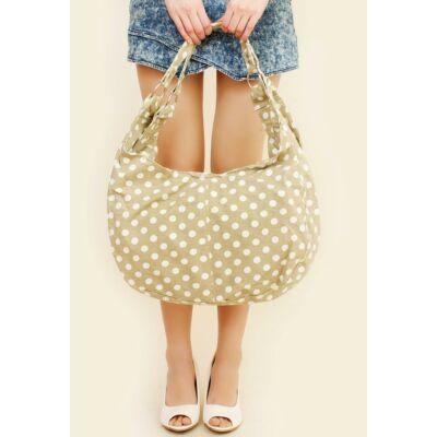 Pöttyös bevásárló táska - Bézs